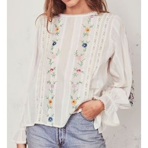 LoveShackFancy  Embroidered Stevie top NWT